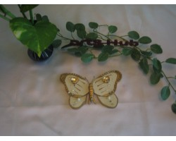 AH-777-WB-010     Wooden Buttefly Brooch painted and used beads