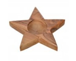 AH-777-WCH-03    Wooden Candle Holder Star Shape