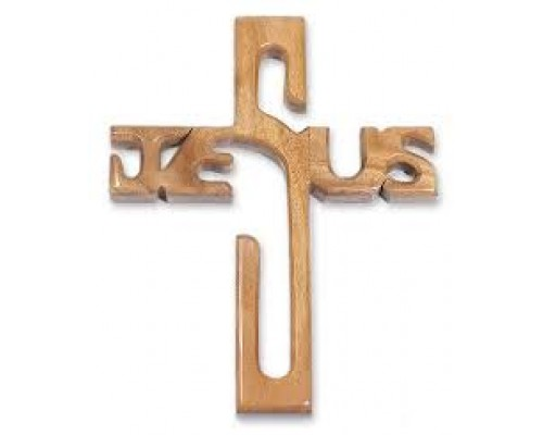 AH-777-WCH-11       Jesus Cross Style wooden car hanging