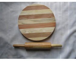 AH-777-WCB-01   Wooden Pastry Board & Rolling Pin