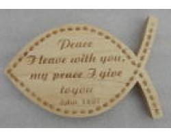 Scripture on fish shape plaque Engrave