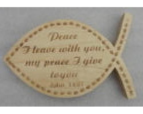 Scripture on fish shape plaque Engrave