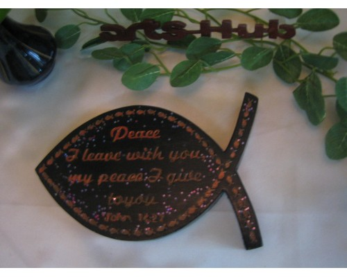 Scripture on fish shape plaque painted Engrave
