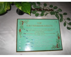 The Ten Commandments painted plaque Engrave