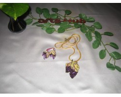 AH-777-WJ-06     Wooden Pendant  and earrings With Gold Plating Chain