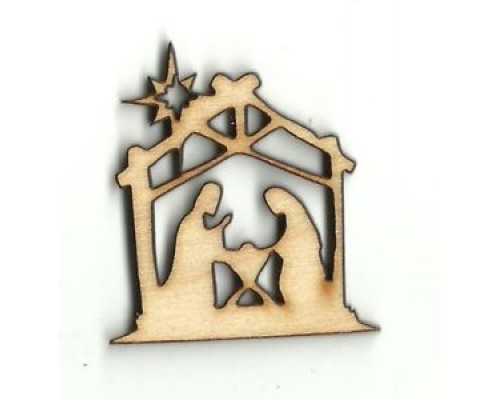 Wooden Nativity Scene Cut out