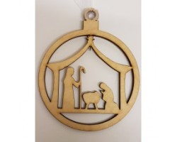 Wooden Nativity Scene Pendant