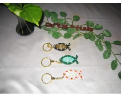 Wooden fish painted Key chain
