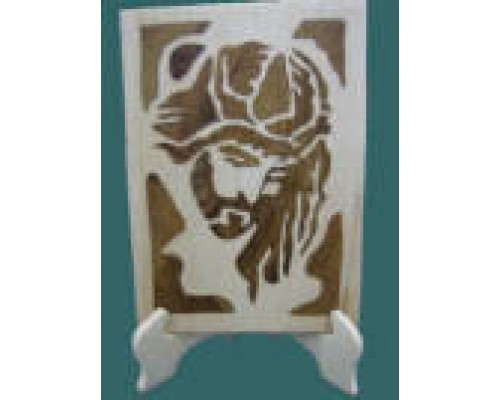 AH-777-WRP-06        Jesus Crucific face with stand        ( Made by natural wood colours) size 8x6x0.75 inches